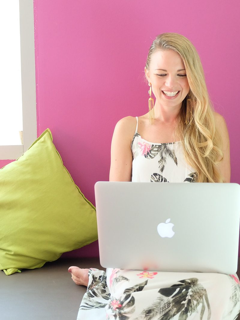 Woman setting up a Host on her blog